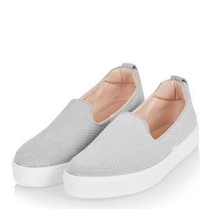 Top Shop Grey Faux Crock Leather Slip ons